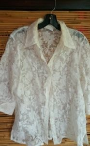 Alfred Dunner White Lace Shirt Sz 12